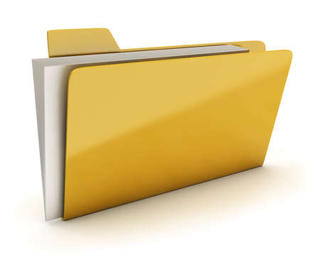 Yellow brilliant folder with documents. 3d image. Isolated white background. photo
