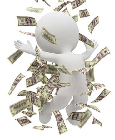 personas banandose: 3D pueblo peque�o ba�o en un mont�n de dinero. imagen 3D. Fondo blanco aislado. Foto de archivo
