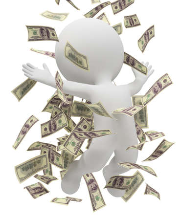 businessman jumping: 3d small people bathing in a heap of money. 3d image. Isolated white background. Stock Photo