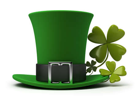 St. Patrick's hat with four-leaf clover. 3d image. Isolated white background. Stock Photo - 8856584