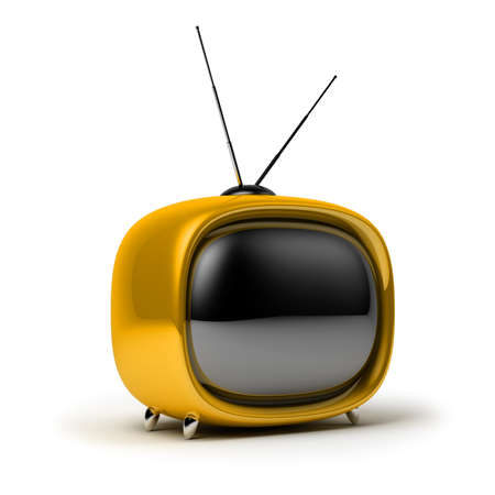 Yellow a retro the TV. 3d image. Isolated white background. photo