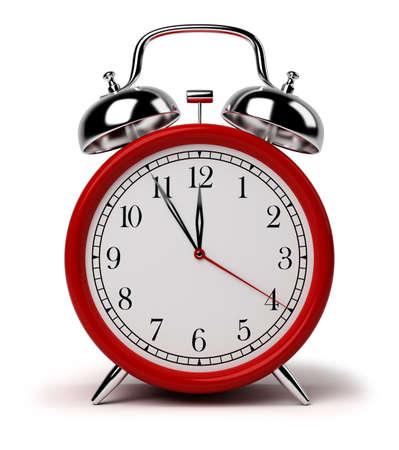 경보: Red alarm clock. 3d image. Isolated white background. 스톡 사진