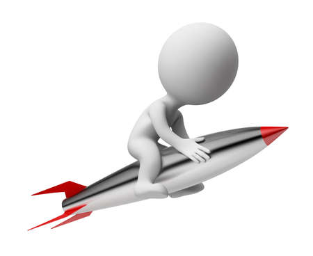 3d small people flying on the rocket. 3d image. Isolated white background.