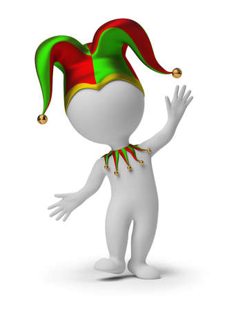 3d small people - dancing jester in a cap. 3d image. Isolated white background. Stock Photo - 8996080