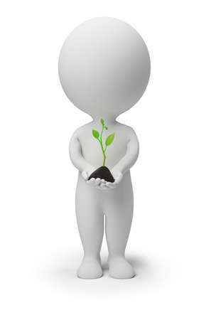 3d image: 3d small people with a sprout in hands. 3d image. Isolated white background. Stock Photo
