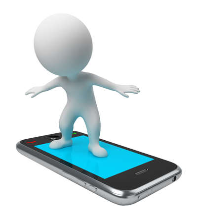 3d image: 3d small people flying on a mobile phone. 3d image. Isolated white background.