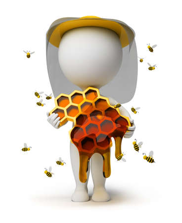 3d small people with honeycombs and honey in hands in a hat, surrounded with bees. 3d image. Isolated white background. Stock Photo - 8996081