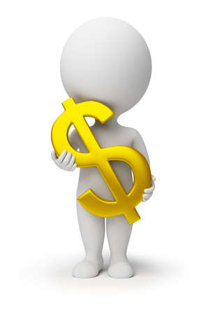 salaries: 3d small person with a gold symbol of dollar in hands. 3d image. Isolated white background.