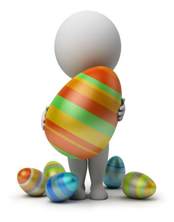 3d small person holds the big Easter egg in a hand. 3d image. Isolated white background. Stock Photo