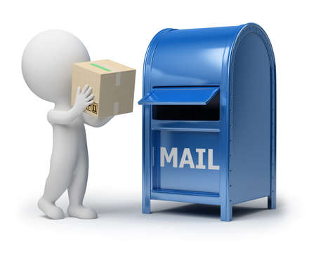 mail man: 3d small person mailing a package. 3d image. Isolated white background. Stock Photo
