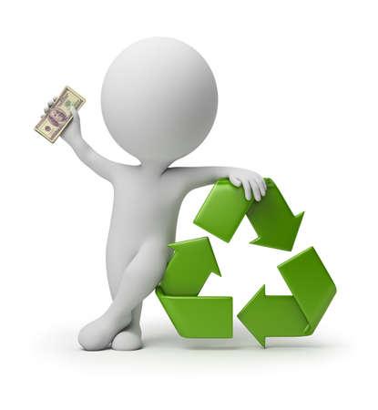 raccolta differenziata: 3D piccola persona con un simbolo di riciclaggio e denaro nelle mani. immagine 3D. Sfondo bianco isolato.