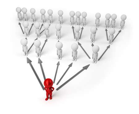 multilevel: 3D numeri di piccole persone in piedi come una piramide. immagine 3D. Sfondo bianco isolato. Archivio Fotografico