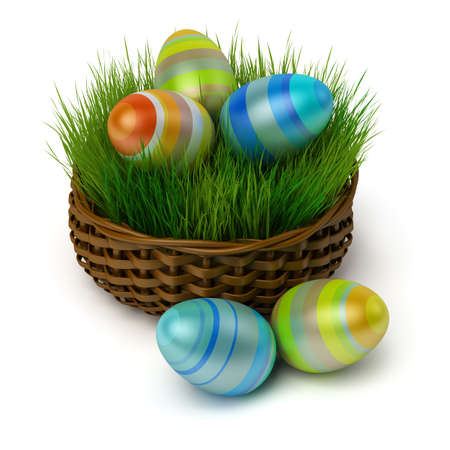 Coloured Easter eggs in a brown basket with a grass. 3d image. Isolated white background. photo