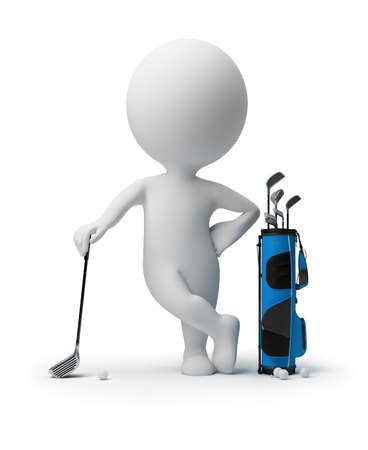 3d small person leant the elbows on a stick for a golf near to a bag for sticks. 3d image. Isolated white background. photo