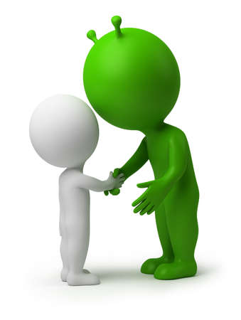 3d small person shaking hands the alien. 3d image. Isolated white background. Stock Photo - 9192977