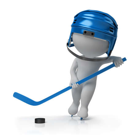 3d small person - the hockey player on the fads with a stick and a helmet. 3d image. Isolated white background. photo