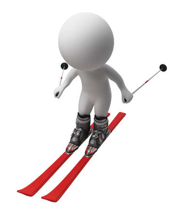 biathlon: 3d small person going on skis. 3d image. Isolated white background. Stock Photo