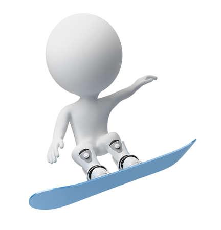 the little man: 3D piccola persona in volo su snowboard. immagine 3D. Sfondo bianco isolato.