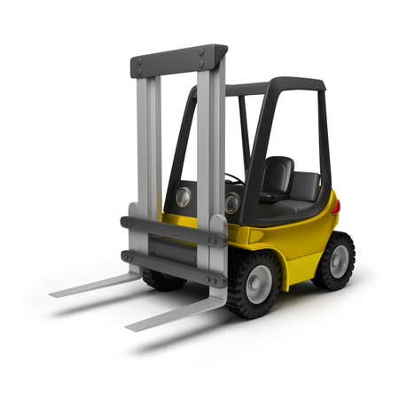 loader: Toy yellow forklift. 3d image. Isolated white background.