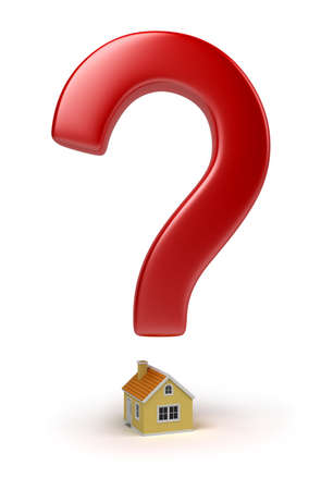 Red sign on a question over the house. 3d image. Isolated white background. Stock Photo - 9192974