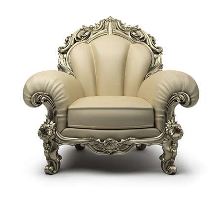 Poltrona di lusso di colore beige, con un decoro argento. Immagine 3d Sfondo bianco isolato