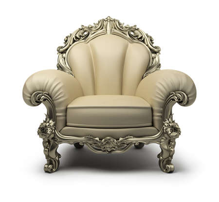Luxury armchair of beige colour, with a silver decor. 3d image. Isolated white background. photo