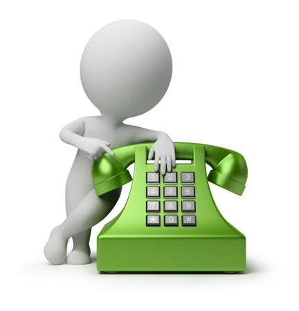 telephone: 3D persona peque�o especificar en tel�fono verde. imagen 3D. Fondo blanco aislado.