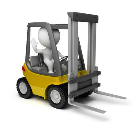 loaders: 3d small person sitting in a forklift. 3d image. Isolated white background.