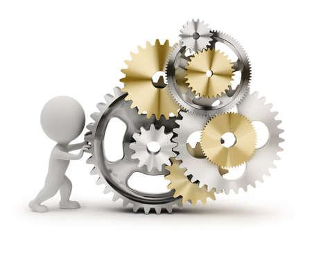 3D-kleine persoon roteert het mechanisme van gears. 3D-beeld. Geïsoleerde witte achtergrond.