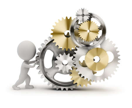 3d small person rotates the mechanism from gears. 3d image. Isolated white background. Stock Photo - 9345565