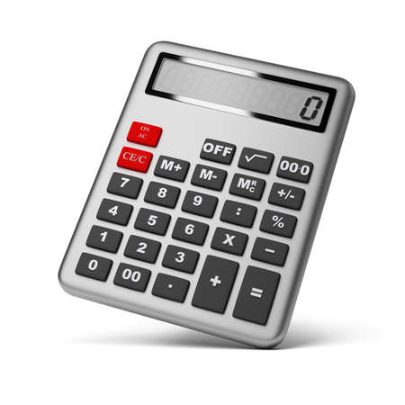 compute: Silver calculator. 3d image. Isolated white background.