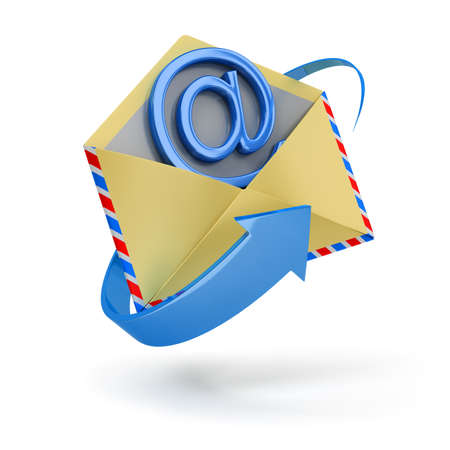 moving site: The letter surrounded with an arrow with email inside 3d image. Isolated white background. Stock Photo