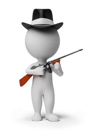 automatic rifle: 3d small person - gangster in a hat with tommy gun in hands. 3d image. Isolated white background.