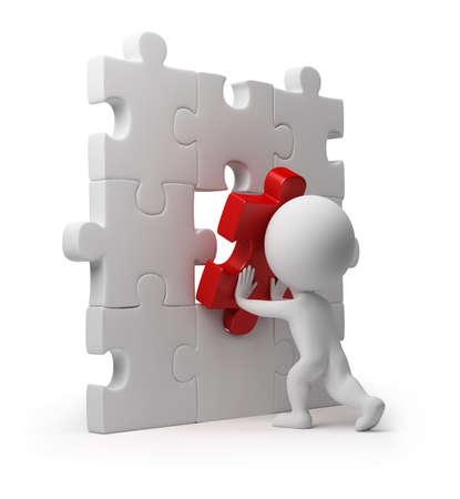 3D persona pequeño insertar la última parte de un rompecabezas. imagen 3D. Fondo blanco aislado.