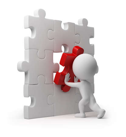 red puzzle piece: 3d small person inserting last part of a puzzle. 3d image. Isolated white background.