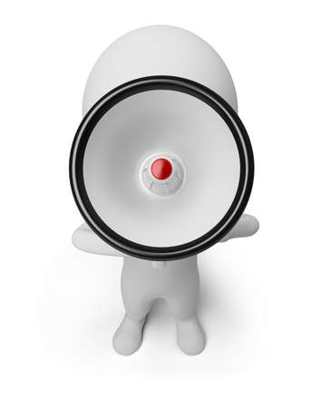 3d small person shouting in a megaphone. 3d image. Isolated white background. photo