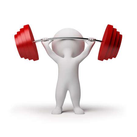 levantamiento de pesas: 3D persona peque�a elevaci�n del peso pesado. imagen 3D. Fondo blanco aislado. Foto de archivo