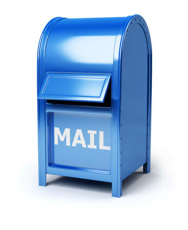 mail box: Dark blue brilliant mail box. 3d image. Isolated white background. Stock Photo