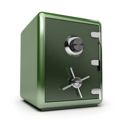 dimentional: Green brilliant safe. 3d image. Isolated white background.