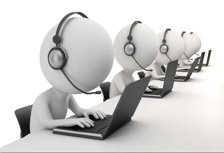 3d small person - operators sitting at laptops in ear-phones with a microphone. 3d image. Isolated white background. photo