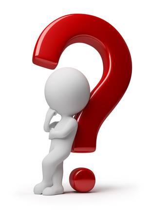 interrogativa: 3D peque�a persona apoy� contra una pregunta roja. imagen 3D. Fondo blanco aislado. Foto de archivo