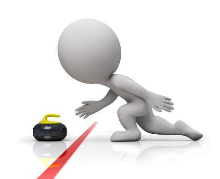 petit homme: personne petite 3D - player offrant une pierre sur une piste de curling, glisse sur la glace de curling. image 3D. Fond blanc isol�e.