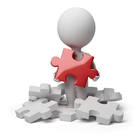 3D-kleine persoon een bedrijf over rode briljante puzzel. 3D-beeld. Geïsoleerde witte achtergrond. Stockfoto