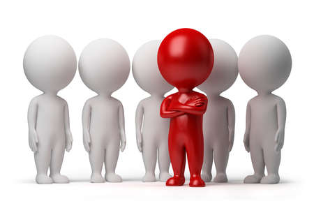 small group: 3d small person the leader of a team allocated with red colour. 3d image. Isolated white background.