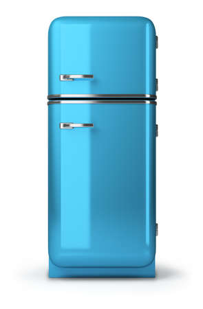 old kitchen: Blue a retro the fridge. 3d image. Isolated white background. Stock Photo