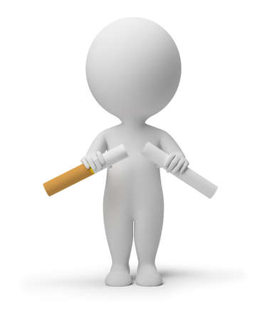 against abstract: 3d small person breaking a cigarette. 3d image. Isolated white background.