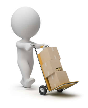 3d small person: 3d small person carrying the hand truck with boxes. 3d image. Isolated white background.