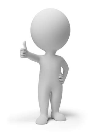 characters: 3d small person with the hand extended forward and the thumb of a hand lifted upwards. 3d image. Isolated white background. Stock Photo