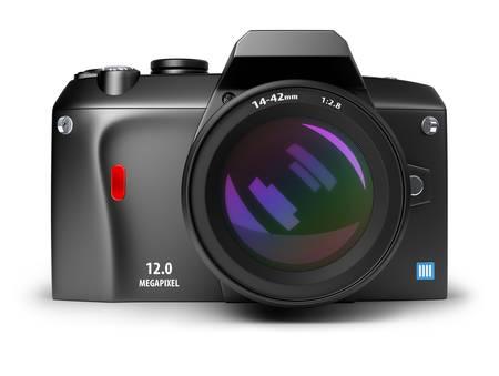 lenses: digital photo camera. 3d image. Isolated white background.