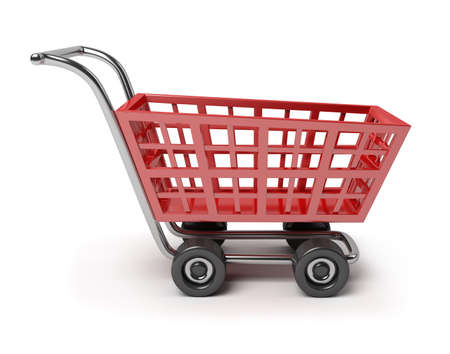 3d rendering wheel: 3d red shop cart. 3d image. Isolated white background.